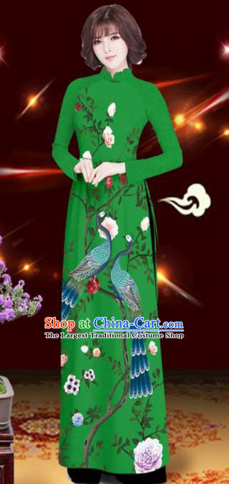 Asian Vietnam Printing Peacock Rose Green Aodai Cheongsam Traditional Costume Vietnamese Bride Classical Qipao Dress for Women