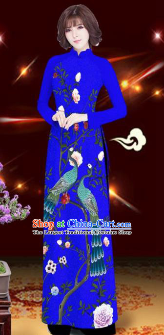 Asian Vietnam Printing Peacock Rose Royalblue Aodai Cheongsam Traditional Costume Vietnamese Bride Classical Qipao Dress for Women