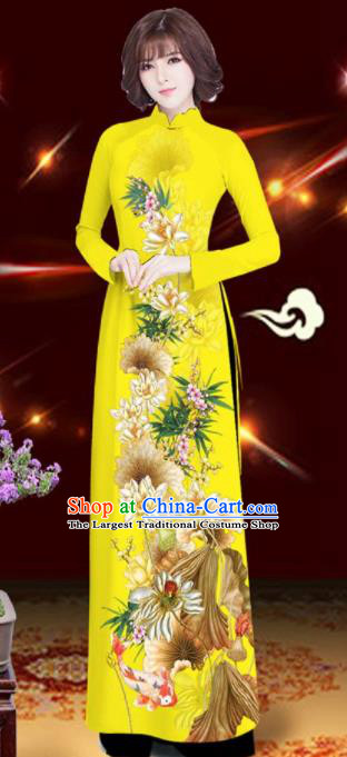 Asian Vietnam Printing Lotus Yellow Aodai Cheongsam Traditional Costume Vietnamese Bride Classical Qipao Dress for Women