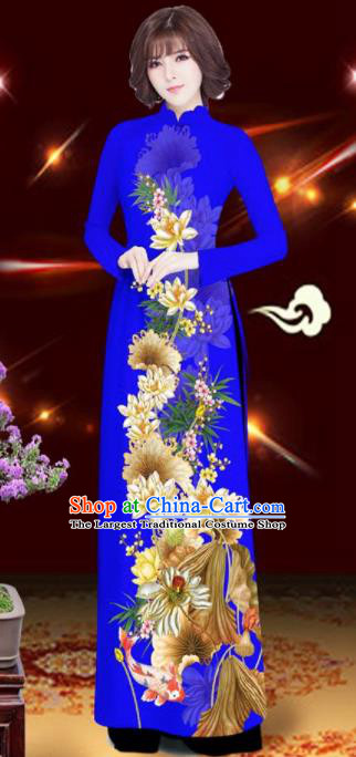 Asian Vietnam Printing Lotus Royalblue Aodai Cheongsam Traditional Costume Vietnamese Bride Classical Qipao Dress for Women