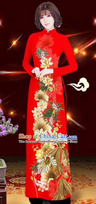 Asian Vietnam Printing Lotus Red Aodai Cheongsam Traditional Costume Vietnamese Bride Classical Qipao Dress for Women