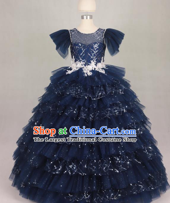 Professional Girls Compere Waltz Dance Navy Full Dress Modern Fancywork Catwalks Stage Show Costume for Kids