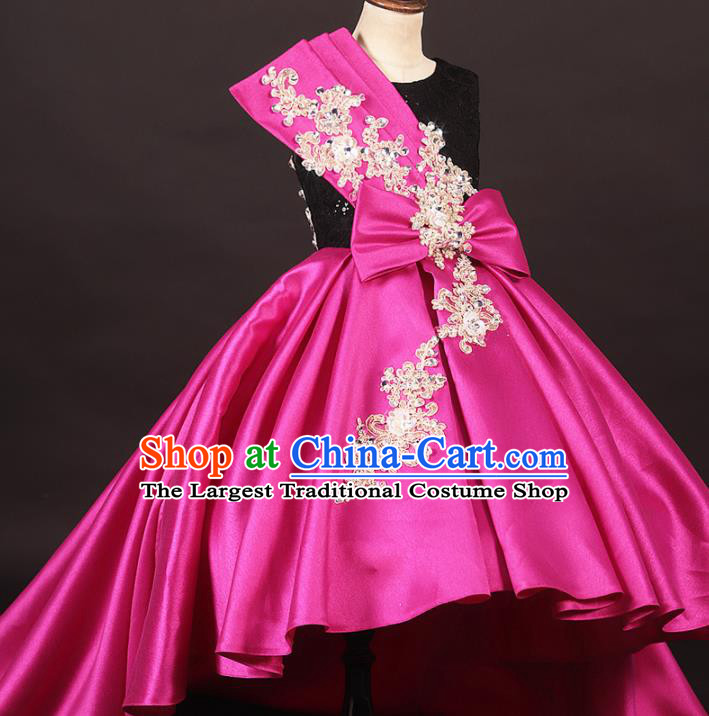 Professional Catwalks Stage Show Dance Rosy Satin Trailing Dress Modern Fancywork Compere Court Princess Costume for Kids