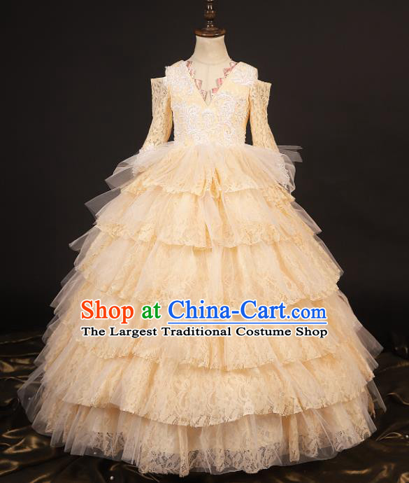 Professional Girls Catwalks Waltz Dance Champagne Lace Dress Modern Fancywork Compere Stage Show Costume for Kids