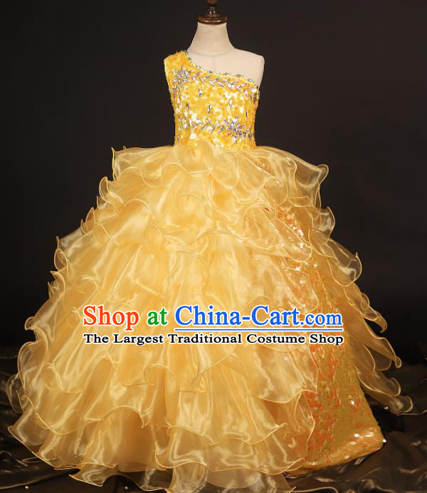 Professional Girls Catwalks Waltz Dance Yellow Veil Dress Modern Fancywork Compere Stage Show Costume for Kids