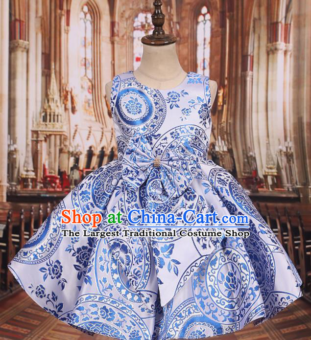 Professional Girls Catwalks Waltz Dance Printing White Dress Modern Fancywork Compere Stage Show Costume for Kids