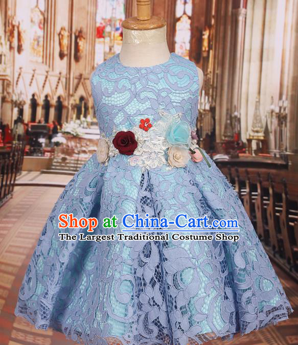 Professional Girls Catwalks Waltz Dance Blue Lace Dress Modern Fancywork Compere Stage Show Costume for Kids