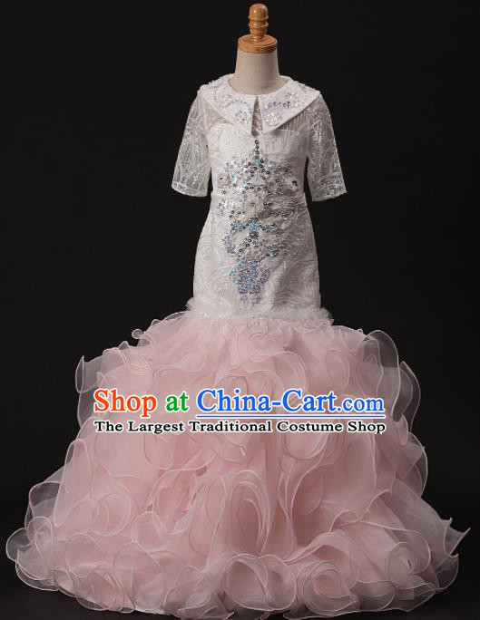 Professional Girls Catwalks Modern Fancywork Pink Veil Mermaid Dress Compere Stage Show Costume for Kids