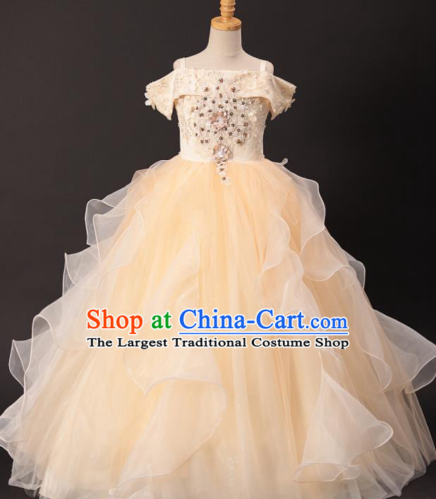Professional Girls Catwalks Modern Fancywork Yellow Veil Dress Compere Stage Show Costume for Kids