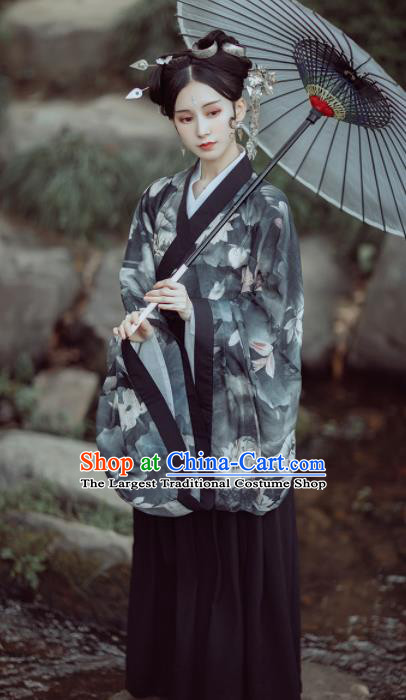 Chinese Ancient Court Lady Printing Lotus Black Hanfu Dress Traditional Jin Dynasty Princess Historical Costume for Women
