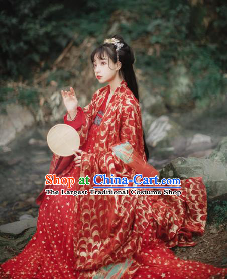 Traditional Chinese Tang Dynasty Princess Wedding Historical Costume Traditional Ancient Bride Red Hanfu Dress for Women