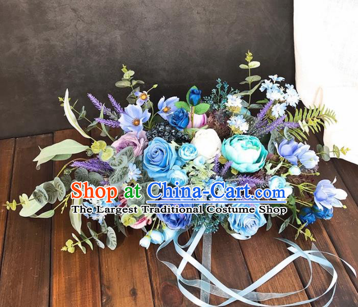 Handmade Classical Wedding Bride Holding Emulational Blue Rose Flowers Ball Hand Tied Bouquet Flowers for Women