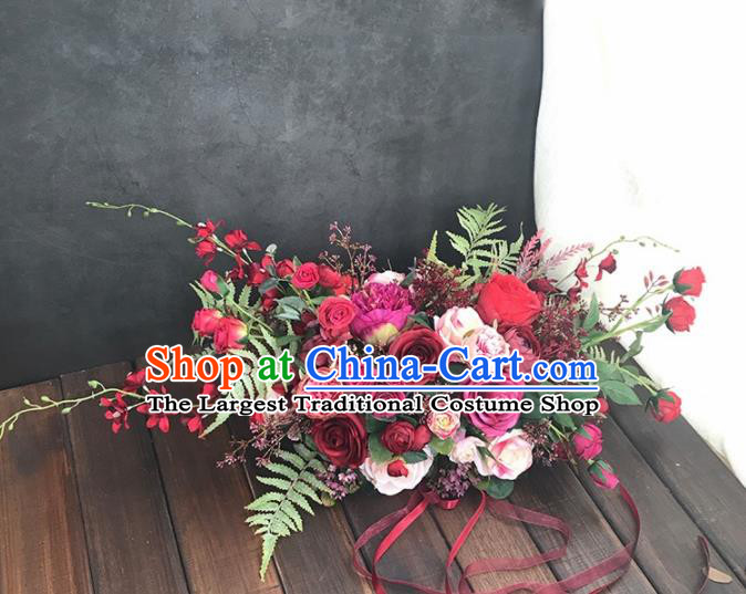Handmade Classical Wedding Bride Holding Emulational Red Rose Flowers Ball Hand Tied Bouquet Flowers for Women