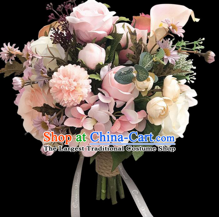 Handmade Wedding Bride Holding Emulational Classical Pink Flowers Ball Hand Tied Bouquet Flowers for Women