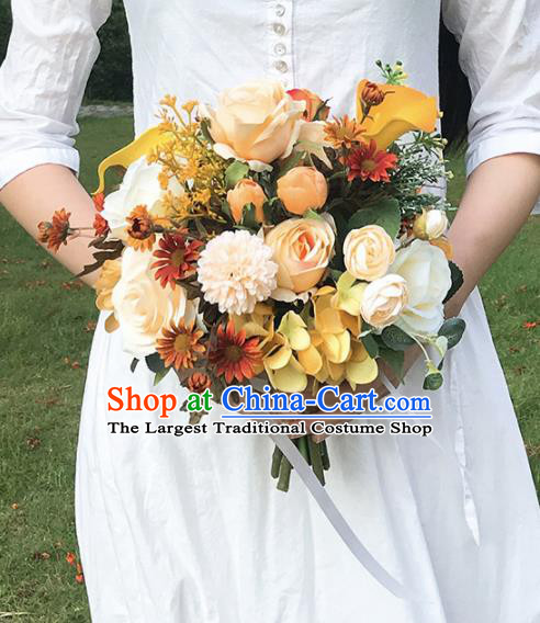 Handmade Wedding Bride Holding Emulational Classical Champagne Flowers Ball Hand Tied Bouquet Flowers for Women
