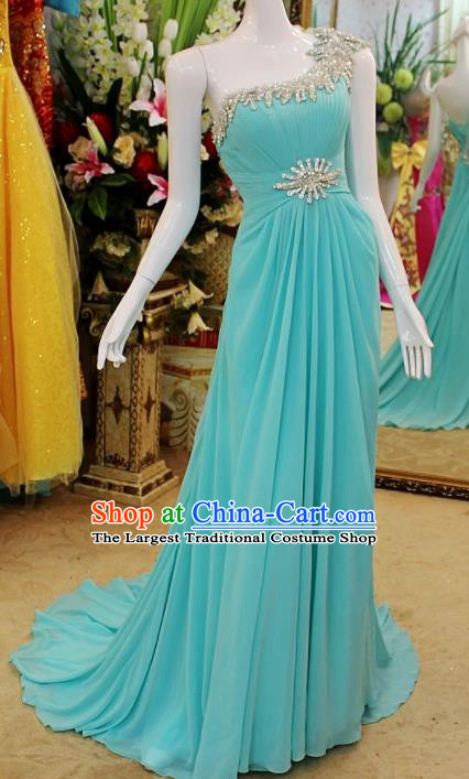 Top Grade Modern Fancywork Single Shoulder Formal Dress Compere Catwalks Costume for Women