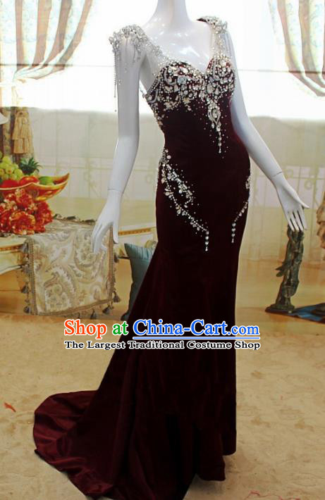 Top Grade Modern Fancywork Wine Red Formal Dress Compere Catwalks Costume for Women