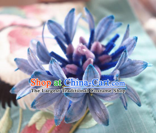 Chinese Handmade Blue Velvet Cornflower Hairpins Ancient Palace Headwear for Women