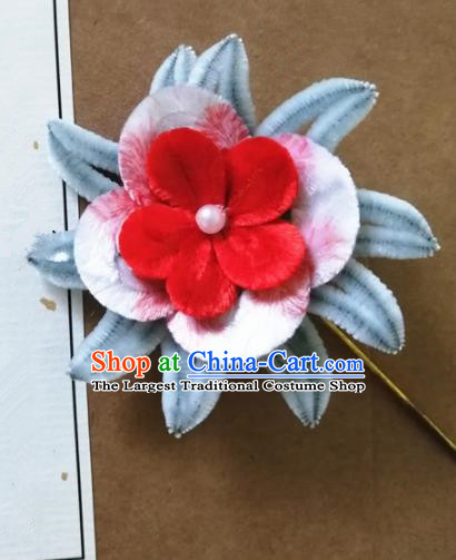 Chinese Handmade Blue Velvet Flowers Hairpins Ancient Palace Headwear for Women