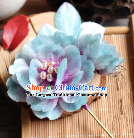 Chinese Handmade Blue Velvet Peony Hairpins Ancient Palace Headwear for Women