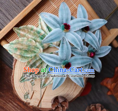 Chinese Handmade Blue Velvet Hairpins Ancient Palace Headwear for Women