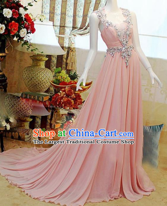 Top Grade Modern Fancywork Princess Pink Formal Dress Compere Catwalks Costume for Women