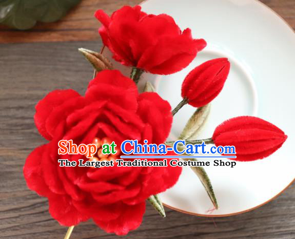 Chinese Handmade Red Velvet Peony Hairpins Ancient Palace Hair Accessories Headwear for Women
