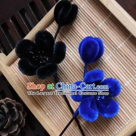 Chinese Handmade Velvet Plum Blossom Hairpins Ancient Palace Hair Accessories Headwear for Women