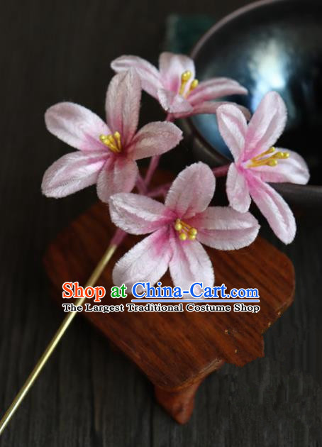 Chinese Handmade Pink Velvet Flowers Hairpins Ancient Palace Hair Accessories Headwear for Women