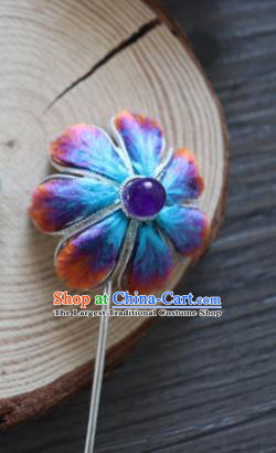 Chinese Handmade Blue Velvet Flowers Hairpins Ancient Palace Queen Hair Accessories Headwear for Women