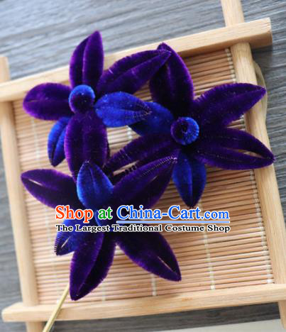 Chinese Handmade Purple Velvet Flowers Hairpins Ancient Palace Queen Hair Accessories Headwear for Women