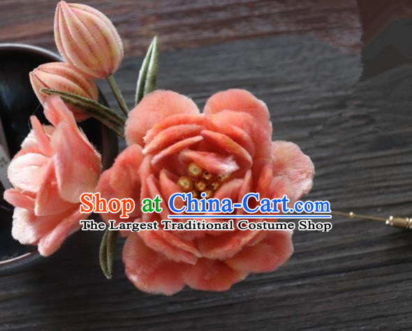 Chinese Handmade Orange Velvet Peony Hairpins Ancient Palace Queen Hair Accessories Headwear for Women