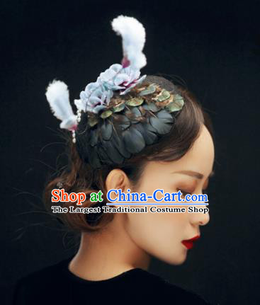 Chinese Handmade Velvet Feather Hairpins Ancient Palace Queen Hair Accessories Headwear for Women