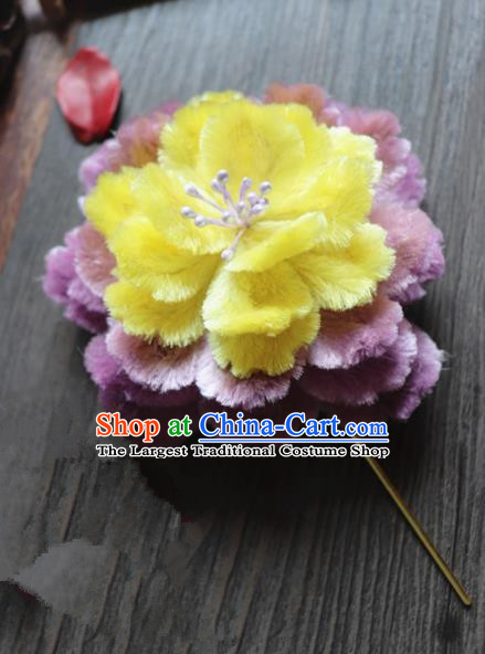 Chinese Handmade Yellow Velvet Peony Hairpins Ancient Palace Queen Hair Accessories Headwear for Women