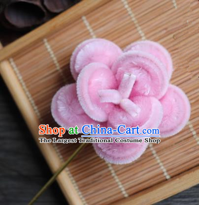 Chinese Handmade Pink Velvet Hairpins Ancient Palace Queen Hair Accessories Headwear for Women