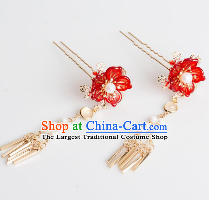 Chinese Handmade Red Flower Hairpins Ancient Princess Hair Accessories Headwear for Women