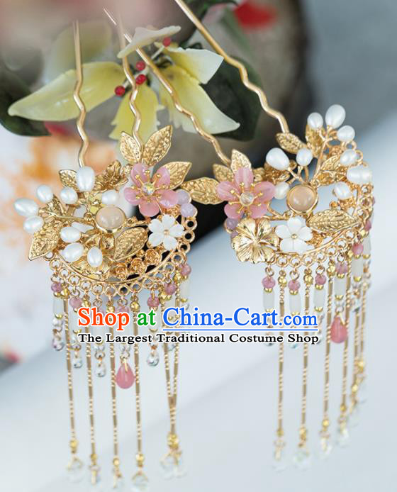 Chinese Handmade Golden Leaf Tassel Hairpins Ancient Princess Hair Accessories Headwear for Women