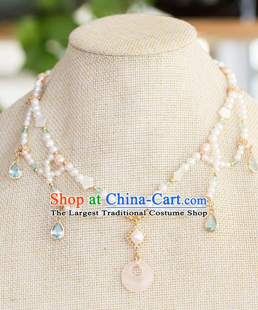 Handmade Chinese Classical Jade Necklace Ancient Palace Hanfu Pearls Necklet Accessories for Women
