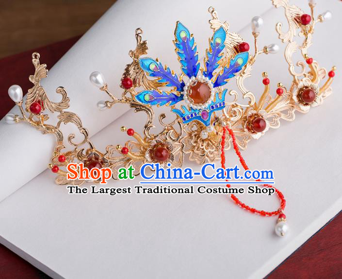 Chinese Handmade Blueing Phoenix Coronet Hairpins Ancient Princess Hair Accessories Headwear for Women