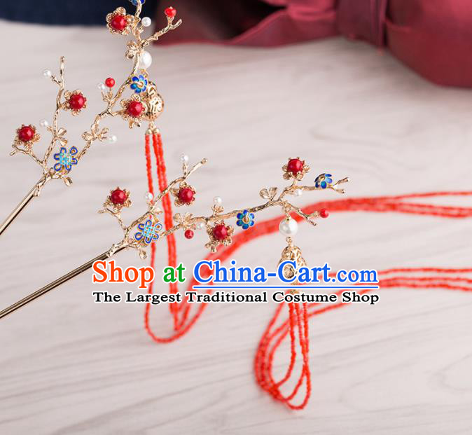 Chinese Handmade Red Tassel Hairpins Ancient Princess Hair Accessories Headwear for Women