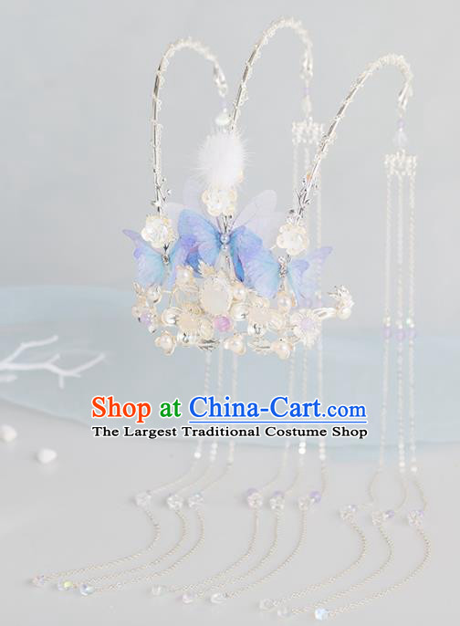 Chinese Handmade Tassel Phoenix Coronet Hairpins Ancient Princess Hair Accessories Headwear for Women