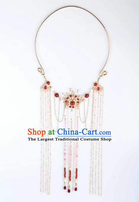 Handmade Chinese Classical Tassel Necklace Ancient Palace Hanfu Necklet Accessories for Women