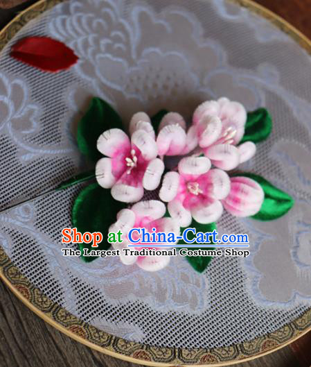 Chinese Handmade Wedding Velvet Plum Blossom Hairpins Ancient Palace Queen Hair Accessories Headwear for Women