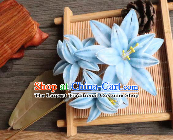 Chinese Handmade Wedding Blue Velvet Orchid Hairpins Ancient Palace Queen Hair Accessories Headwear for Women