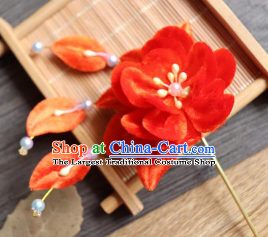 Chinese Handmade Wedding Red Velvet Flower Hairpins Ancient Palace Queen Hair Accessories Headwear for Women