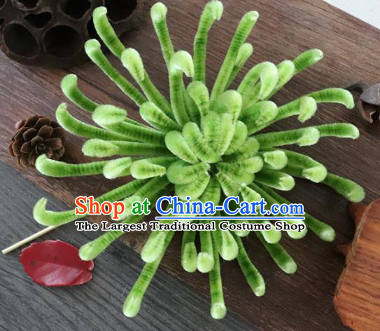 Chinese Handmade Green Velvet Chrysanthemum Hairpins Ancient Palace Queen Hair Accessories Headwear for Women