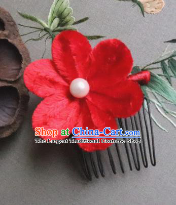Chinese Handmade Red Velvet Flowers Hair Comb Ancient Palace Queen Hair Accessories Headwear for Women