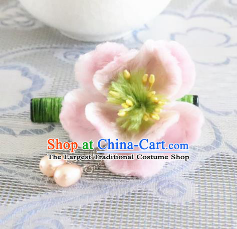Chinese Handmade Pink Velvet Flowers Hair Claw Ancient Palace Queen Hair Accessories Headwear for Women