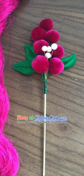 Chinese Handmade Rosy Velvet Berry Hairpins Ancient Palace Queen Hair Accessories Headwear for Women