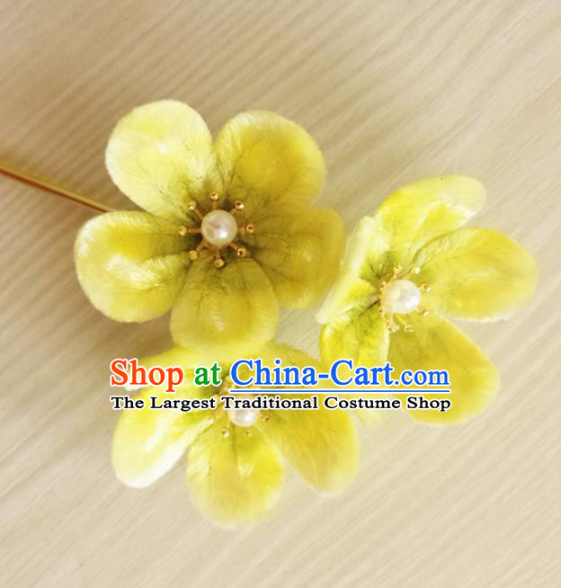 Chinese Handmade Yellow Velvet Flowers Hairpins Ancient Palace Queen Hair Accessories Headwear for Women